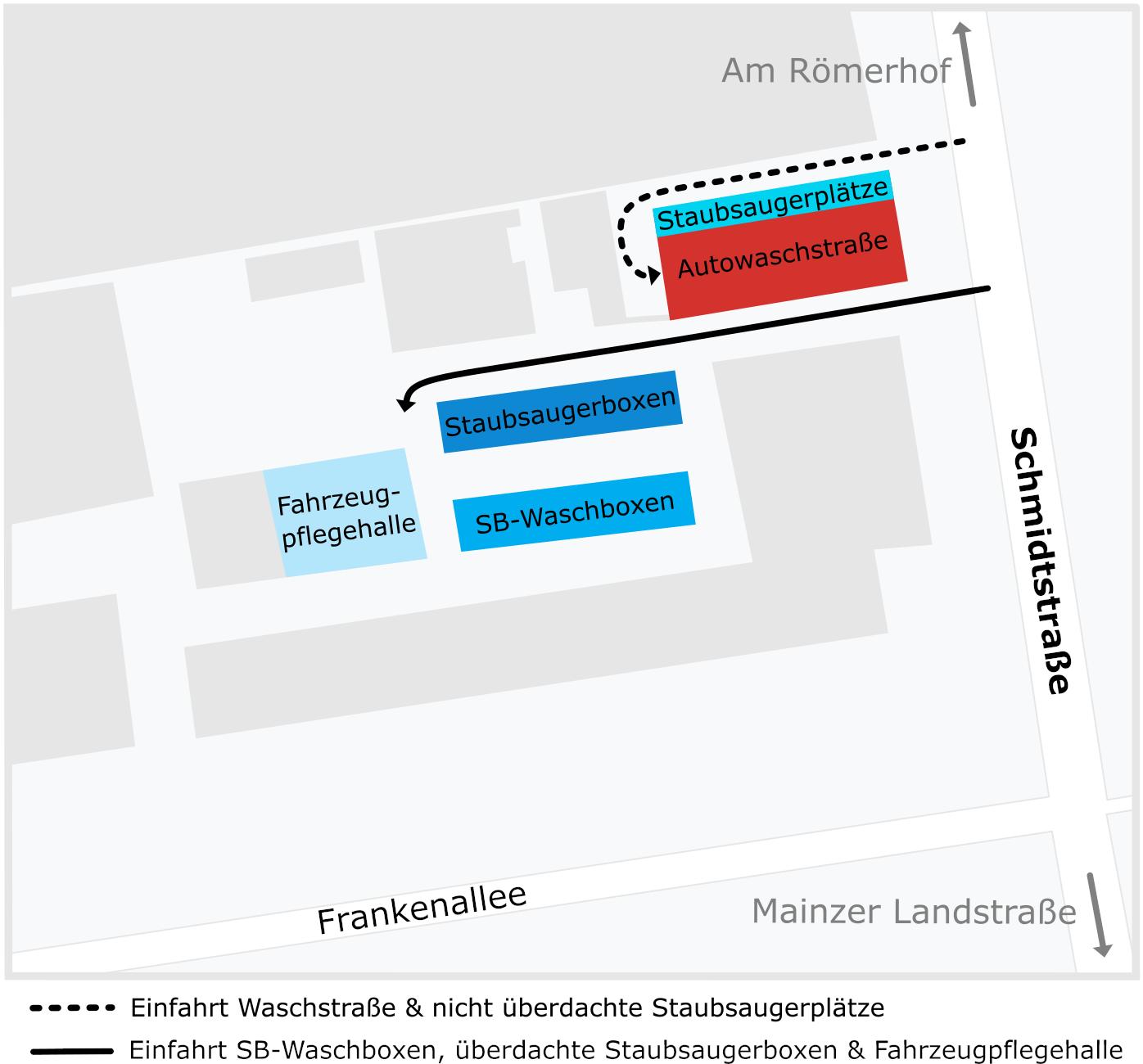 Lageplan AQUA Autowasch Frankfurt